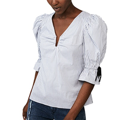 Cotton Puff Sleeve V-Neck Blouse