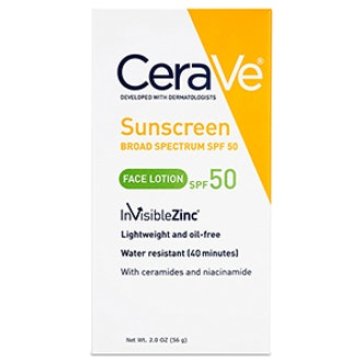 CeraVe Face Sunscreen 50 with Zinc Oxide
