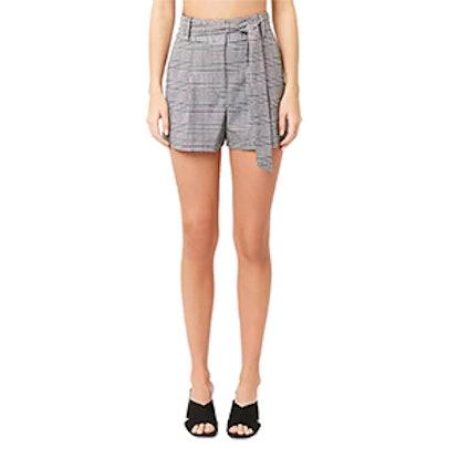 High-Waist Glen Plaid Shorts