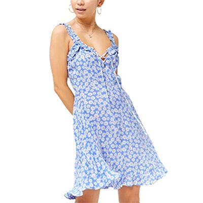 Floral Print Lace-Up Dress