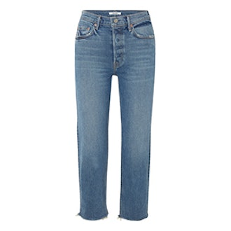 Helena Cropped Distressed Mid-Rise Straight-Leg Jeans