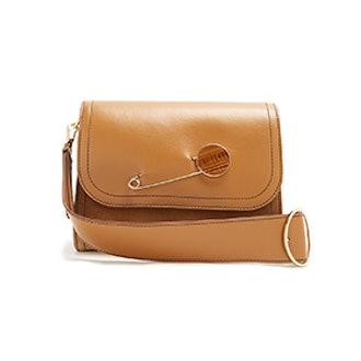 Pin-Detail Leather Shoulder Bag