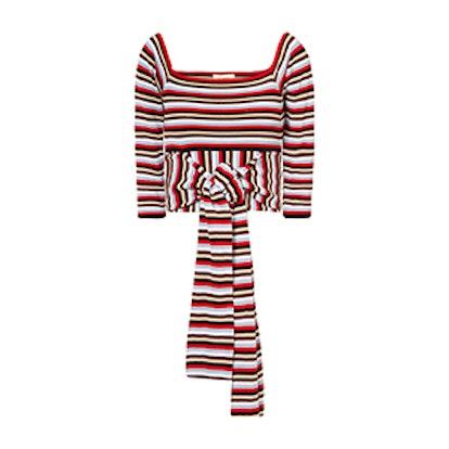 Striped Cotton-Jersey Wrap Top