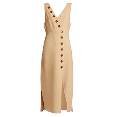 Christy Deep V-Neck Stretch-Cady Dress
