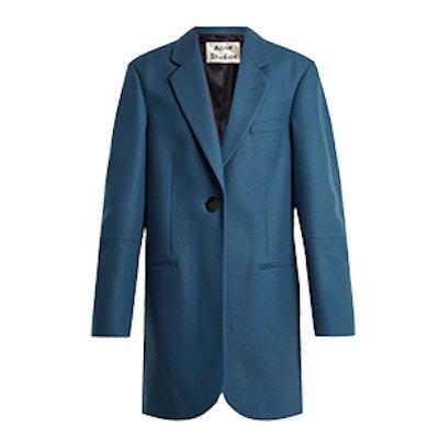 Klarah Notch-Lapel Wool-Blend Flannel Coat