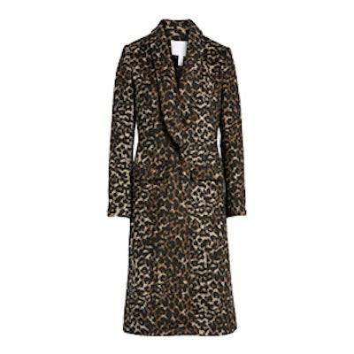 Longline Leopard Print Coat