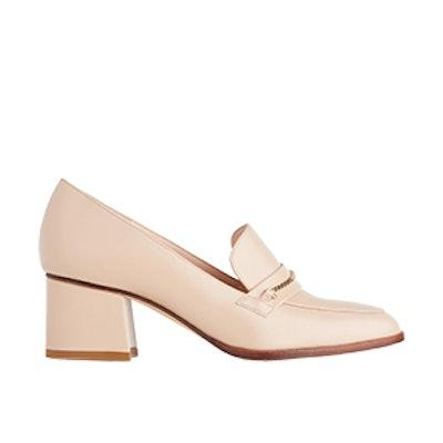 Emma Nude Leather Block Heel