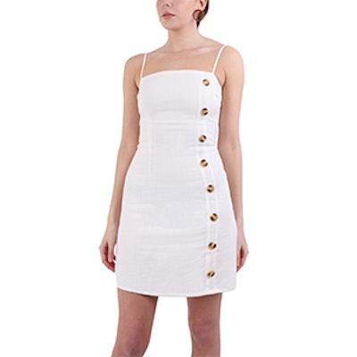 White Button Down Linen Mini Dress