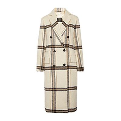 Gritt Double Breasted Plaid Brushed-Felt Coat