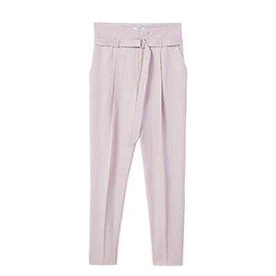 Buckle High-Waist Trouser