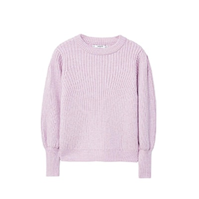 Puffed Sleeves Ribbed Jumper