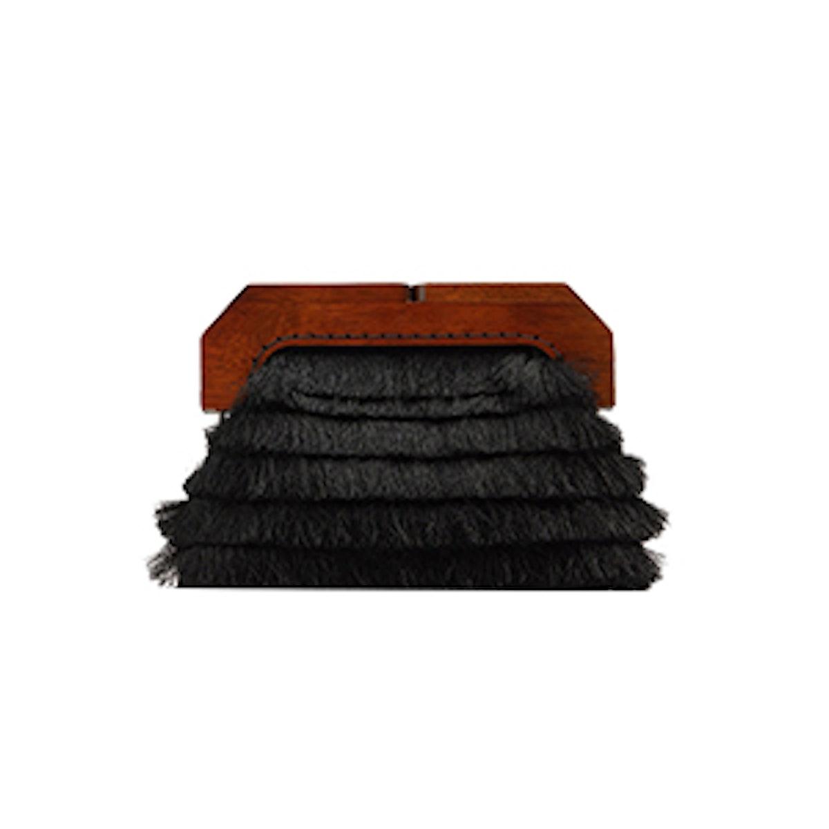Wooden Handle Fringe Clutch