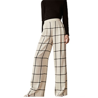 Checked Wool Trousers With With Darts Details