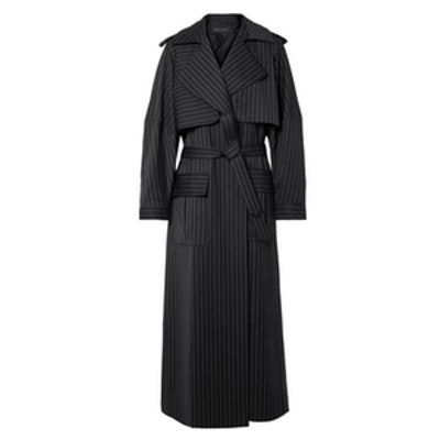 Pinstriped Wool Trench Coat