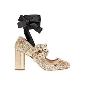 Lace-Up Glittered Leather Pumps