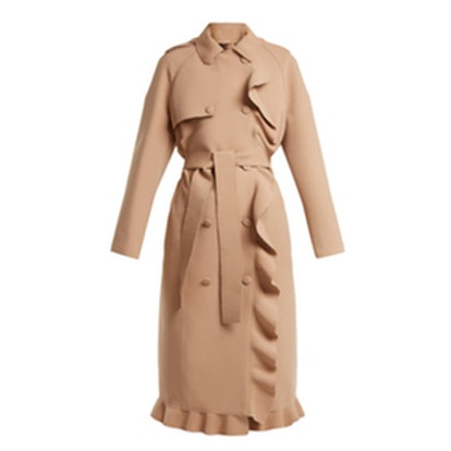 Ruffle-Trimmed Bonded-Crepe Coat