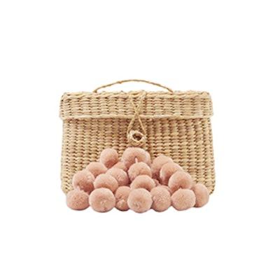 Baby Roge Pompom-Embellished Woven Raffia Tote