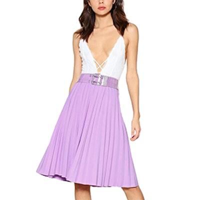 Pleat Stay Midi Skirt