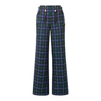 Leather-Trimmed Tartan Flannel Wide-Leg Pants