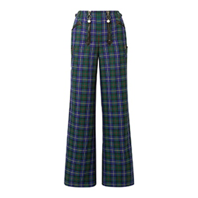 Leather-Trimmed Tartan Flannel Wide-Leg Pants