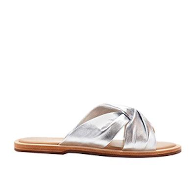 Hampton Knotted Metallic Leather Slides