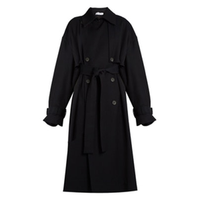 Displaced-Sleeve Oversized Twill Trench Coat