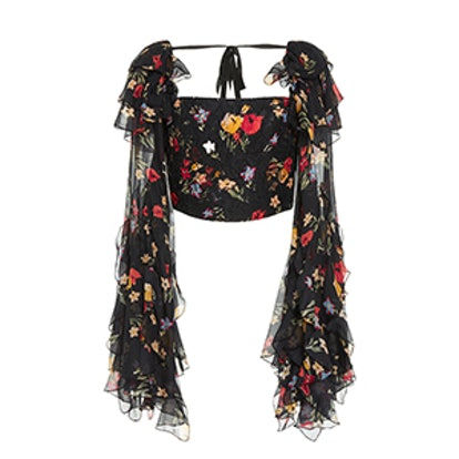Floral Printed Silk Satin Cropped Blouse