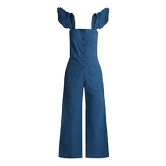 Callie Ruffle-Trimmed Button-Through Jumpsuit