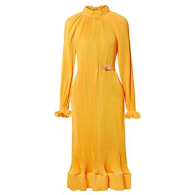 Belted Plisse-Satin Midi Dress