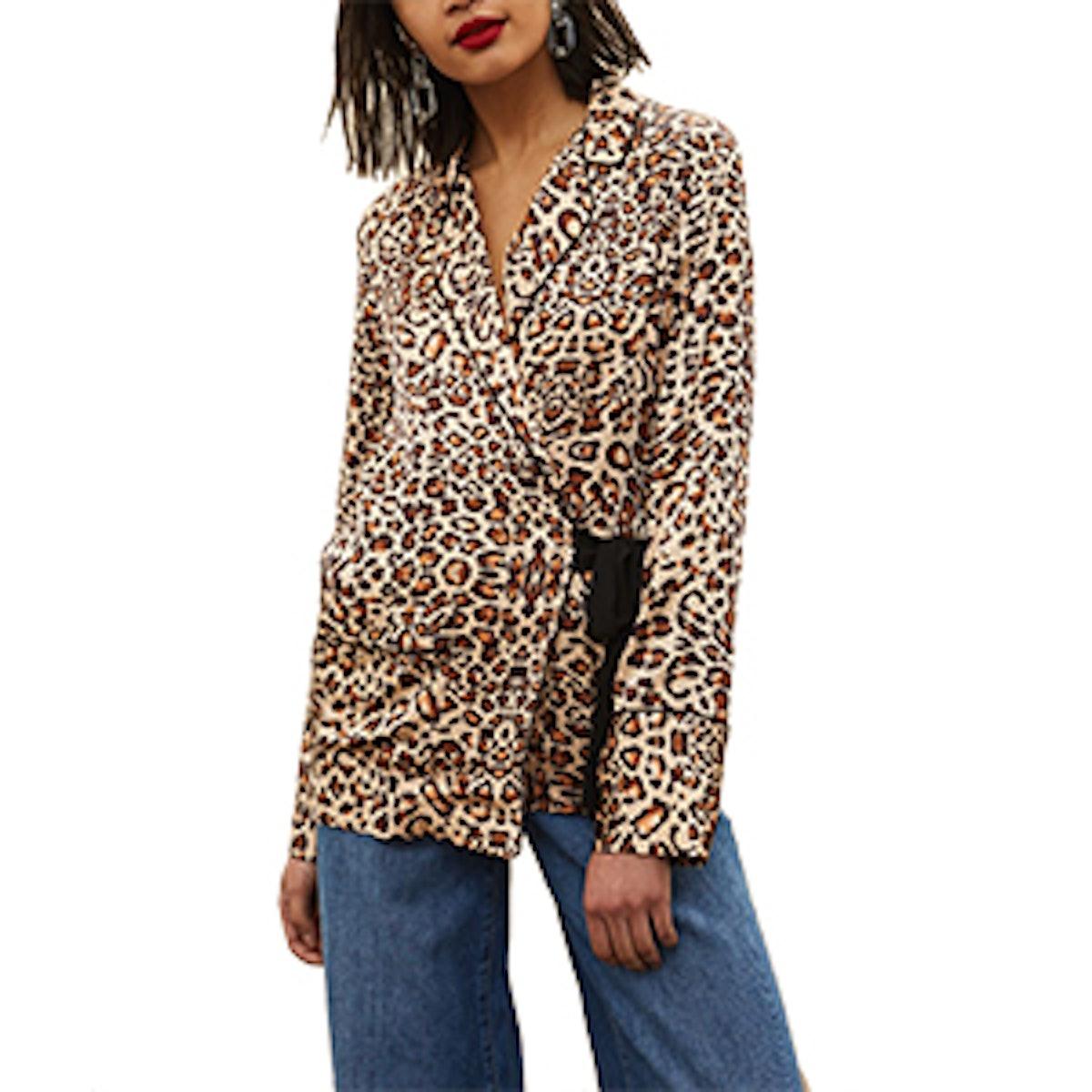 Animal Print Wrap Pyjama Shirt