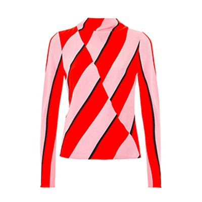 High Neck Bold Stripe Blouse