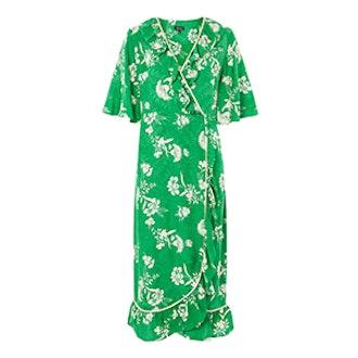 Leaf Print Ruffle Wrap Dress