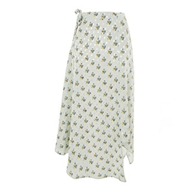 Spot Floral Hanky Hem Skirt