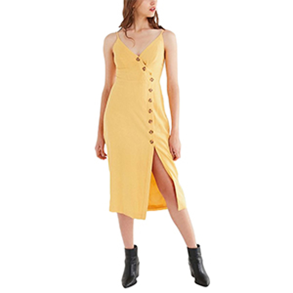 Amber Button-Down Linen Midi Dress