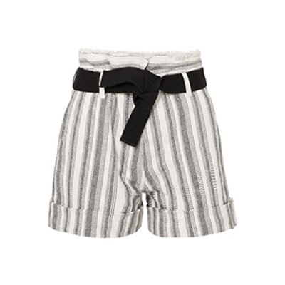 Ezed Belted Striped Cotton-Canvas Shorts