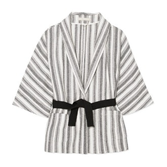 Iles Belted Striped Cotton-Canvas Jacket