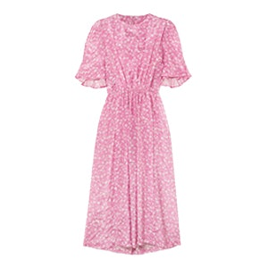 Gathered Floral-Print Georgette Midi Dress