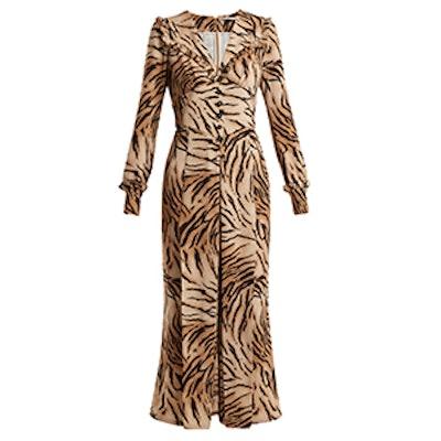Tiger-Print V-Neck Dress