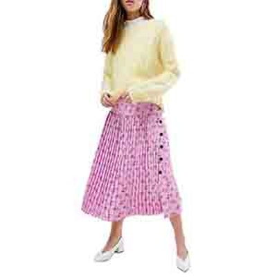 Pleated Midi Skirt in Floral Print with Side Buttons