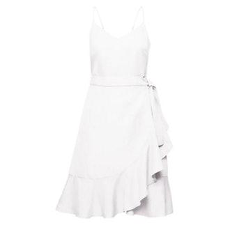 Linen-Blend Ruffle Wrap Dress