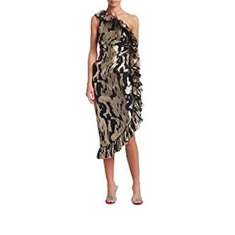 One Shoulder Jacquard Ruffle Side Sheath Dress