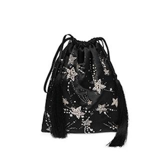 Sequin Star Satin Pouch Bag