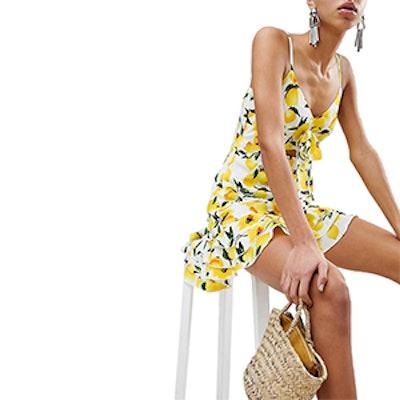 Cut Out Lemon Print Dress