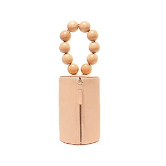 Cylinder Wood And Leather Clutch