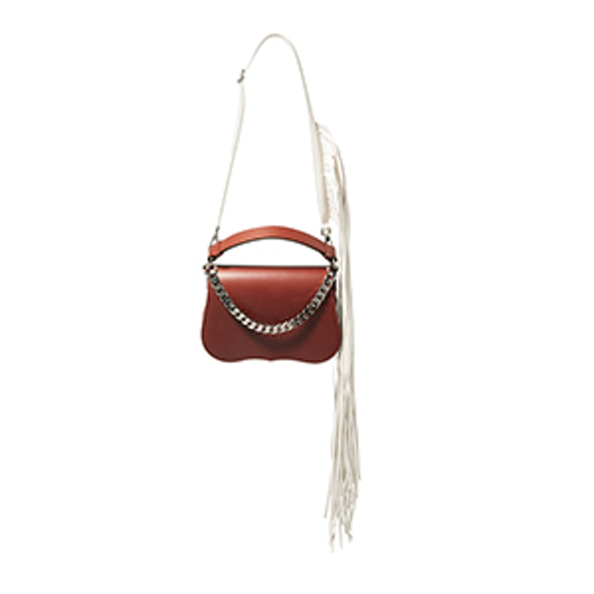 Fringed Chain-Trimmed Leather Shoulder Bag