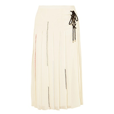 Lace-Up Pleated Silk-Chiffon Midi Skirt