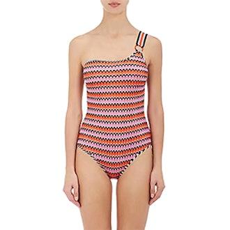 Chevron-Knit One-Piece One-Shoulder Swimsuit