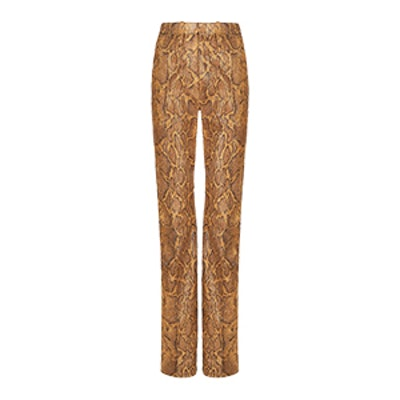 Straight, High-Rise Pants In Python-Print Leather