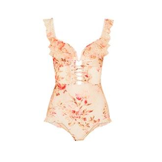 Corsair Ruffled Floral-Print Point D'Esprit-Trimmed Halterneck Swimsuit