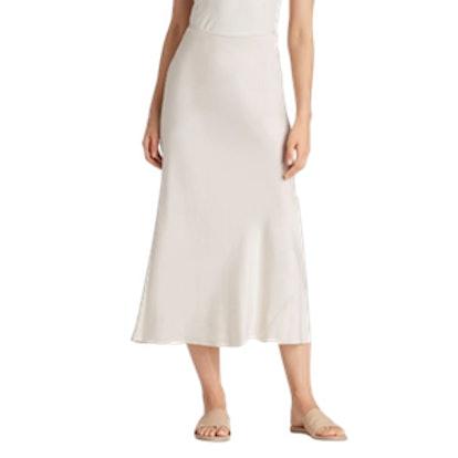 Sandwashed Silk Charmeuse Bias-Cut Skirt